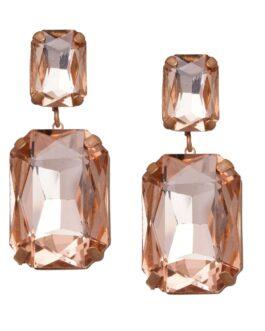 Dark Sparkle Pink Geometric Stone-Studded Drop Earrings
