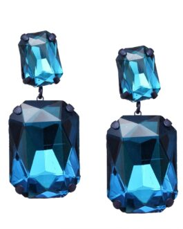 Dark Sparkle Blue Geometric Stone-Studded Drop Earrings