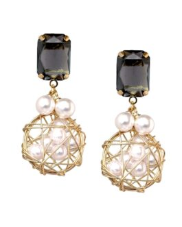 Black Stone with Pearls wrapped in Gold Woven Wire