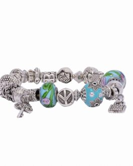 Silver Charm bracelet with Blue Floral Glass Beads