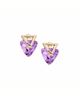 Upside Triangle Stud Earrings ( Lavender )