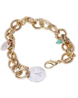 Vintage Paris Charm Matt Gold Fashion Bracelet ( Assorted Glass Beads)