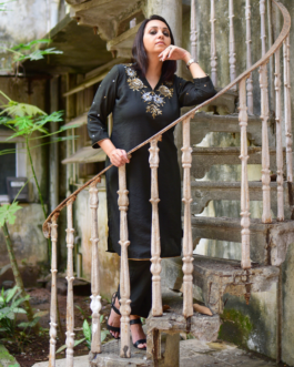 V Neck Kurta and Pants set with antique sequin hand embroidery