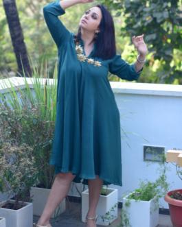Cross Tunic / Dress ( Bottle Green )