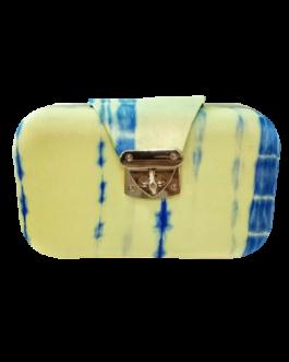 Boho Tie & Dye Evening Metal Clutch Lime Yellow & Blue