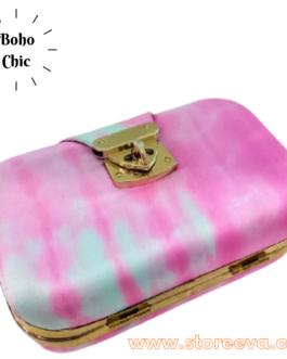 Boho Tie & Dye Evening Metal Clutch Pink & Grey