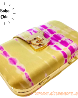 Boho Tie & Dye Evening Metal Clutch Pink & Gold