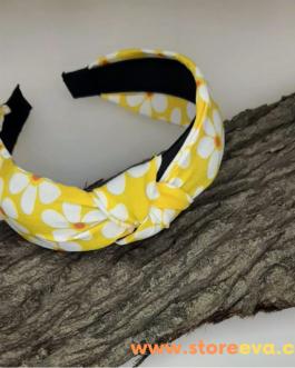 Yellow Daisy Floral Flower Headband for Women, Turban Headband, Women's Accessory, Wide headband, Knot Headband, Hair band, Girls headband, Fashion headband