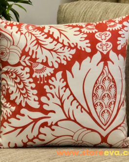 Cotton Cushion Cover With Foliage Print Tomato Red