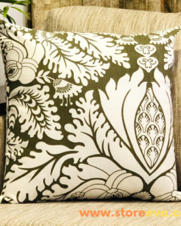 Cotton Cushion Cover With Foliage Print Dark Olive Green