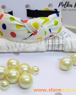 Twisted Knot Polka Dot Headbands for Women ( White )