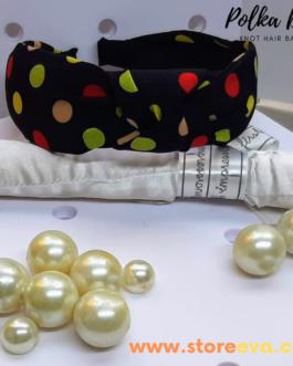 Twisted Knot Polka Dot Headbands for Women ( Black )
