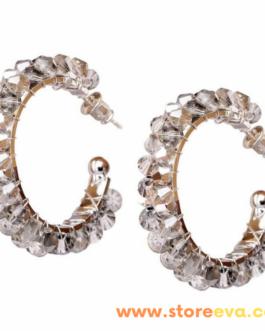 Crystal Hoops with Shiny Glass Rhinestones. Lightweight Statement Hoop Earrings. Trendy Jewellery (Crystal).