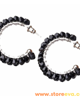 Crystal Hoops with Shiny Glass Rhinestones. Lightweight Statement Hoop Earrings. Trendy Jewellery (Black).