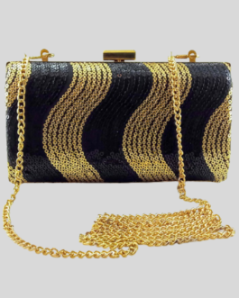 Sequence Metal Clutch with gold and black sequence