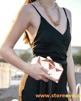 Women Handbags Metal High Quality Hexagon Clutch Fashion Geometric Mini Party Evening Purse Rose Gold Bag Box Clutch