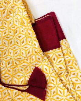 Breezy yellow coloured block printed Short Dress
