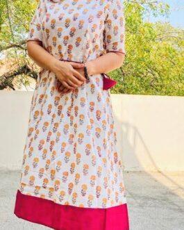 Small Jaipuri traditional butti printed Short Dress