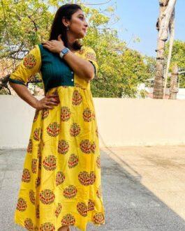Breezy Summer calf length Yellow Dress