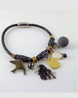 Braided Vegan Leather Charm Bacelet