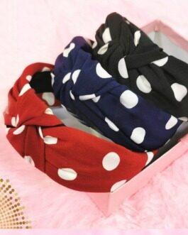 Polka Dot Hairband Set of 3 Dark Colour Set