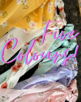 Chiffon Floral Print Hair Scarf Scrunchies